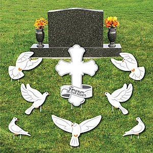Dove Memorial - Yard Sign & Outdoor Lawn Cemetery Grave Decorations - Memorial Cemetery Yard Signs - Set of 8