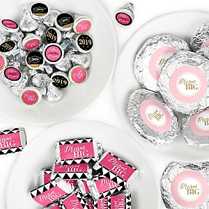 Dream Big - Mini Candy Bar Wrappers, Round Candy Stickers and Circle Stickers -2019 Graduation Party Candy Favor Sticker Kit - 304 Pieces