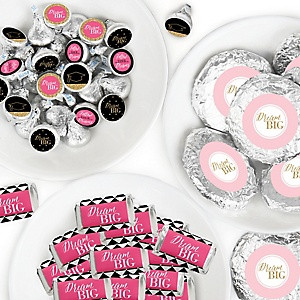 Dream Big - Mini Candy Bar Wrappers, Round Candy Stickers and Circle Stickers - Graduation Party Candy Favor Sticker Kit - 304 Pieces
