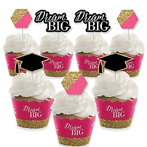 Dream Big - Cupcake Decoration - Graduation Party Cupcake Wrappers and Treat Picks Kit - Set of 24