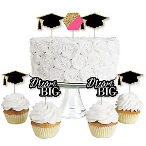 Dream Big - Dessert Cupcake Toppers - Graduation Party Clear Treat Picks - Set of 24
