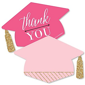 Dream Big - Shaped Thank You Cards - Graduation Party Thank You Note Cards with Envelopes - Set of 12