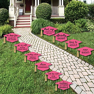 Dream Big - Grad Cap Shaped Outdoor Graduation Lawn Decorations - Graduation Party Yard Signs - 10 Piece