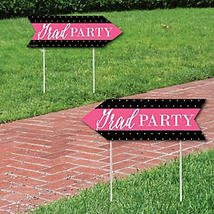 Dream Big - Graduation Party Sign Arrow - Double Sided Directional Yard Signs - Set of 2