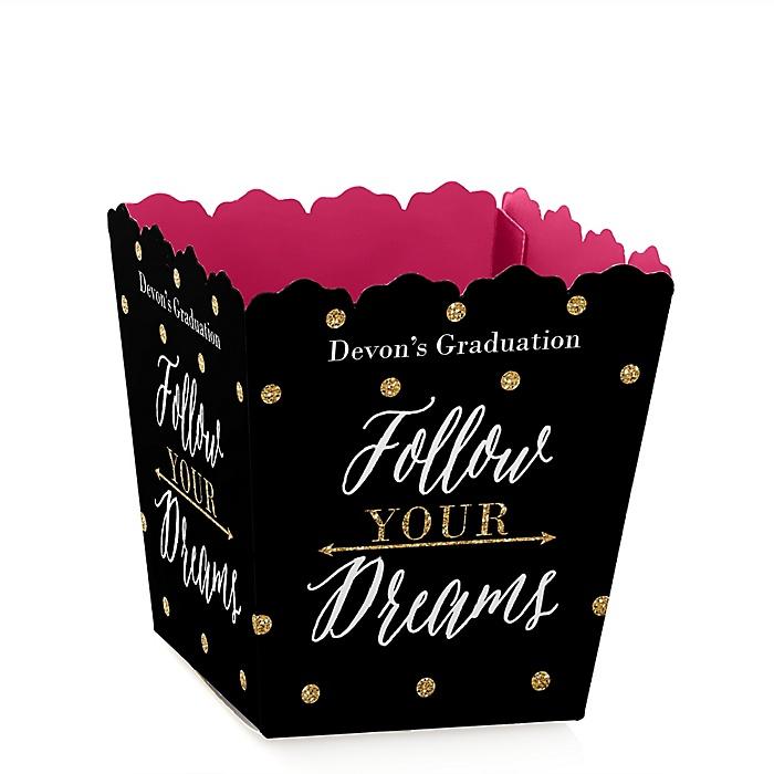 Dream Big - Party Mini Favor Boxes - Personalized Graduation Treat Candy Boxes - Set of 12