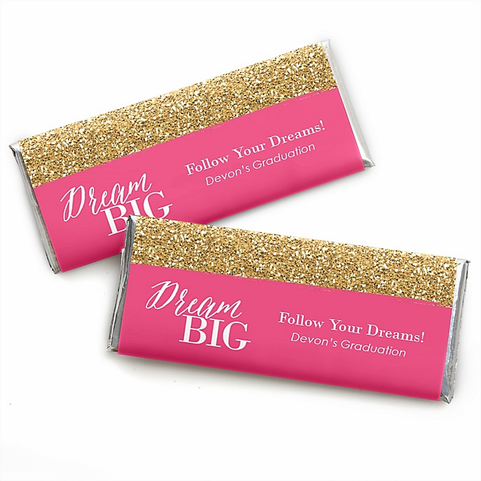 Dream Big - Personalized Candy Bar Wrappers Graduation Party Favors - Set of 24