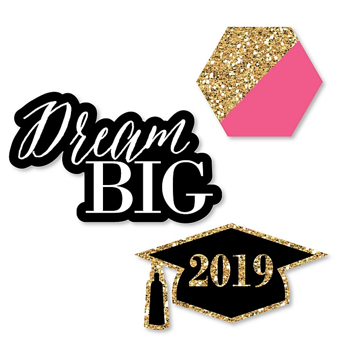 Dream Big - DIY Shaped 2019 Graduation Party Paper Cut-Outs - 24 ct
