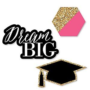 Dream Big - DIY Shaped Graduation Party Paper Cut-Outs - 24 ct