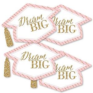 Dream Big - Grad Cap Decorations DIY Graduation Party Essentials - Set of 20