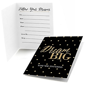 Dream Big - Graduation Party Fill In Invitations - 8 ct