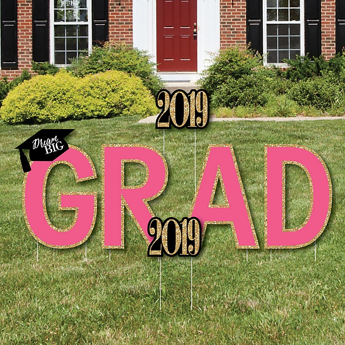 GRAD - Dream Big - Yard Sign Outdoor Lawn Decorations - 2019 Graduation Party Yard Signs