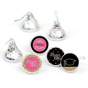Dream Big - Round Candy Labels Graduation Party Favors - Fits Hershey's Kisses 108 ct