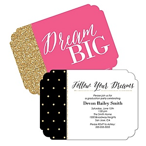 Dream Big - Personalized Graduation Invitations - Set of 12