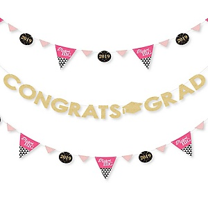 Dream Big - 2019 Graduation Party Letter Banner Decoration - 36 Banner Cutouts and Congrats Grad Banner Letters