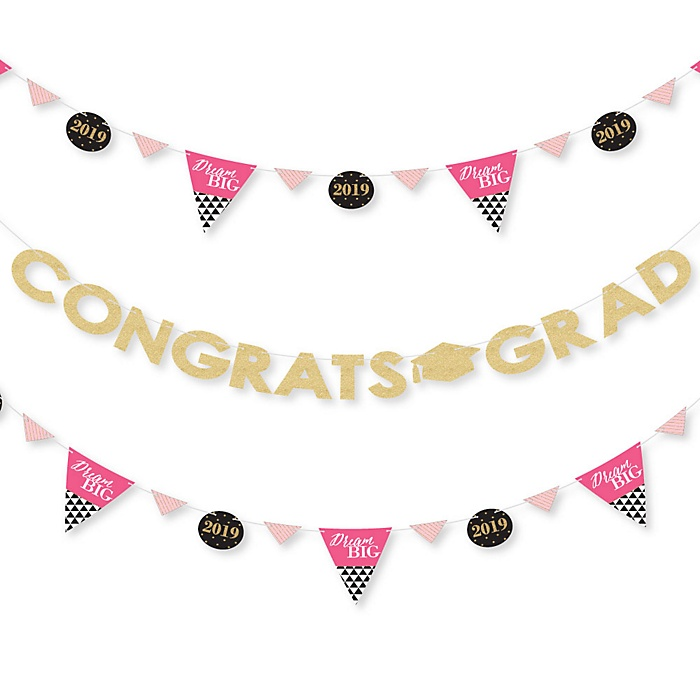 Dream Big - 2019 Graduation Party Letter Banner Decoration - 36 Banner Cutouts and Congrats Grad Banner Letters