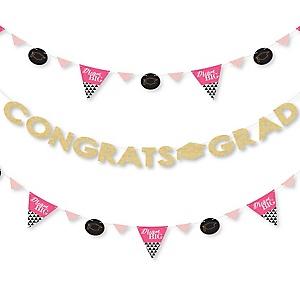 Dream Big - Graduation Party Letter Banner Decoration - 36 Banner Cutouts and Congrats Grad Banner Letters