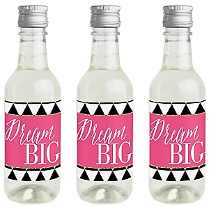 Dream Big - Mini Wine and Champagne Bottle Label Stickers - Graduation Party Favor Gift - Set of 16