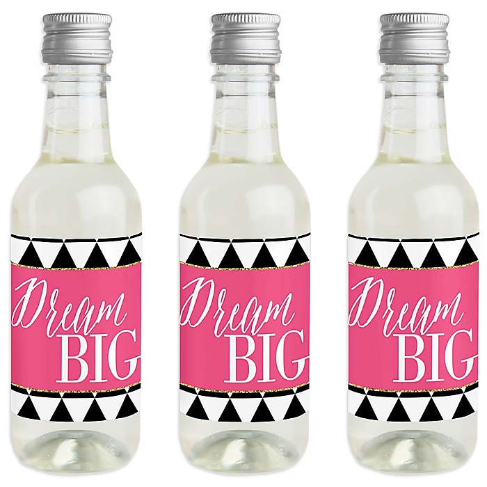 Dream Big - Mini Wine and Champagne Bottle Label Stickers - Graduation Party Favor Gift - For Women and Men - Set of 16