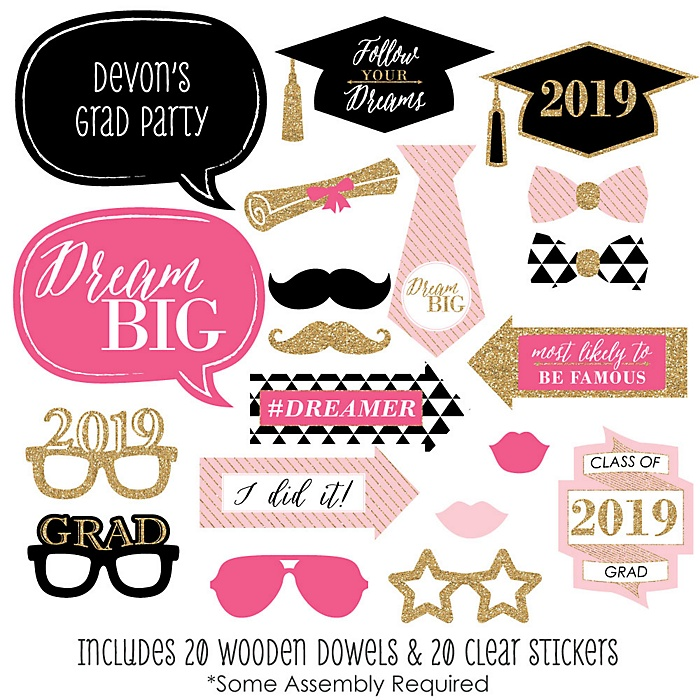 Dream Big - 20 Piece 2019 Graduation Party Photo Booth Props Kit