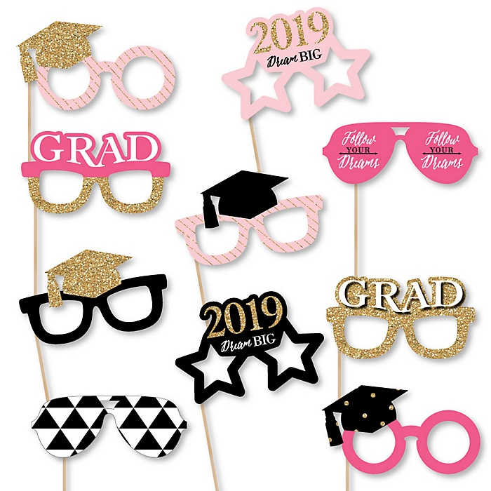 Dream Big Glasses - 2019 Paper Card Stock Graduation Party Photo Booth Props Kit - 10 Count