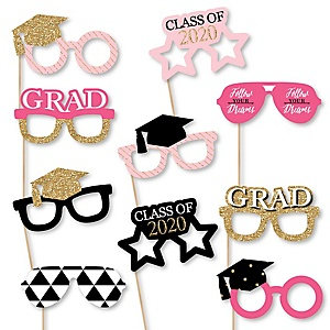 Dream Big Glasses - 2020 Paper Card Stock Graduation Party Photo Booth Props Kit - 10 Count