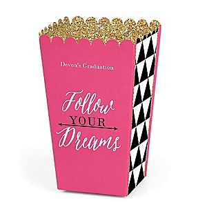 Dream Big - Personalized Graduation Popcorn Favor Treat Boxes - Set of 12