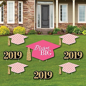 Dream Big - Yard Sign & Outdoor Lawn Decorations - 2019 Graduation Party Yard Signs - Set of 8