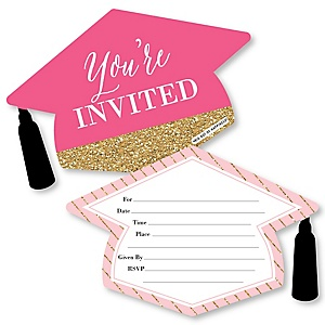 Dream Big - Shaped Fill-In Invitations - Graduation Party Invitation Cards with Envelopes - Set of 12