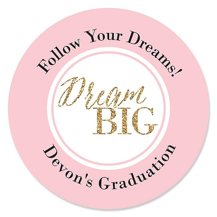 Dream Big - Personalized Graduation Sticker Labels - 24 ct