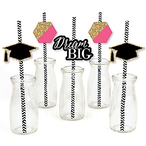 Dream Big - Paper Straw Decor - Graduation Striped Decorative Straws - Set of 24