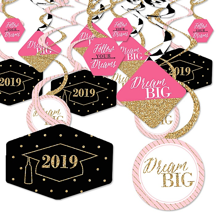 Dream Big - 2019 Graduation Party Hanging Decor - Party Decoration Swirls - Set of 40