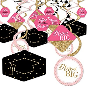 Dream Big - Graduation Party Hanging Decor - Party Decoration Swirls - Set of 40