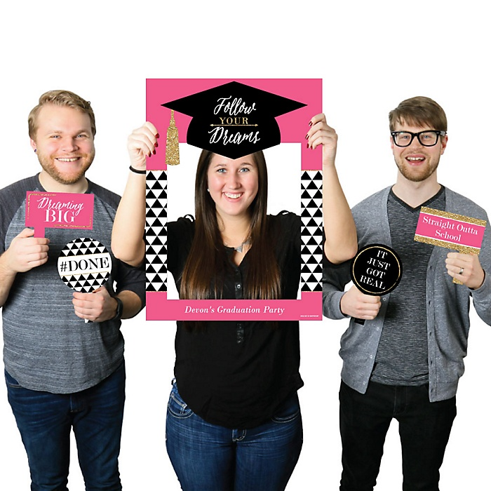 Dream Big - Personalized Graduation Party Selfie Photo Booth Picture Frame & Props - Printed on Sturdy Material