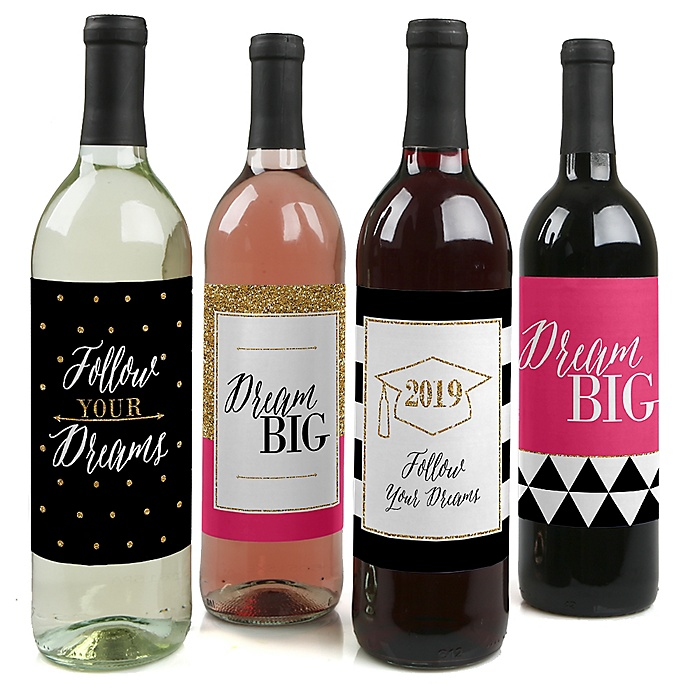 Dream Big - 2019 Graduation Decorations for Women and Men - Wine Bottle Label Stickers - Set of 4