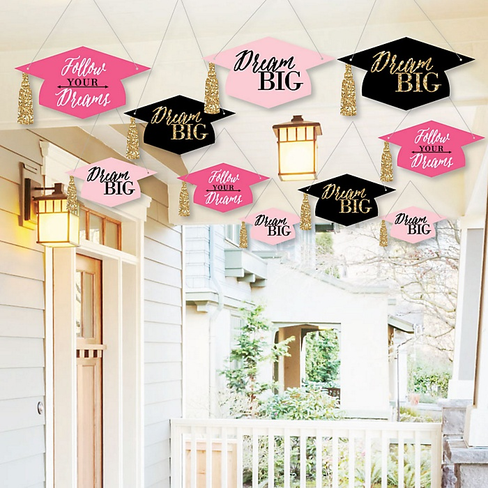 Hanging Dream Big - Outdoor Graduation Party Hanging Porch & Tree Yard Decorations - 10 Pieces