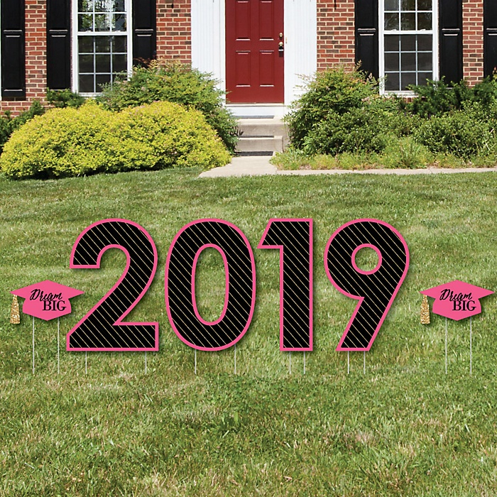2019 - Dream Big - Yard Sign Outdoor Lawn Decorations - Graduation Party Yard Signs
