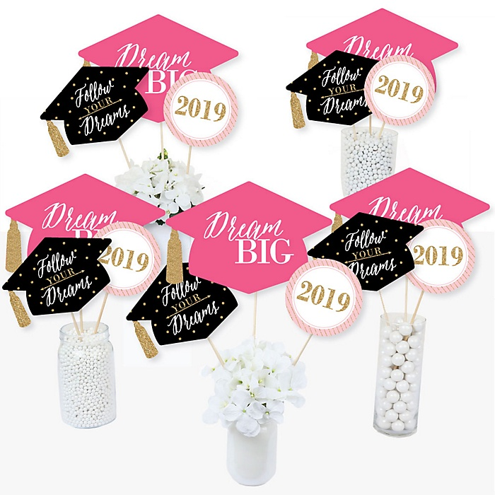 Dream Big - 2019 Graduation Party Centerpiece Sticks - Table Toppers - Set of 15