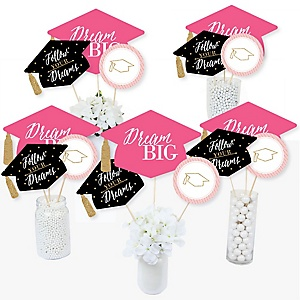 Dream Big - Graduation Party Centerpiece Sticks - Table Toppers - Set of 15