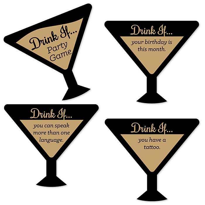 Drink If Game - Martini Glass - Fun Drinking Game Cards - 24 Count