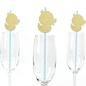 Gold Glitter Duck Party Straws - No-Mess Real Gold Glitter Cut-Outs and Decorative Baby Shower or Birthday Party Paper Straws - Set of 24