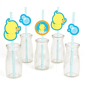 Ducky Duck - Paper Straw Decor - Baby Shower or Birthday Party Striped Decorative Straws - Set of 24