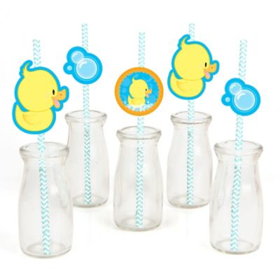 Ducky Duck   Paper Straw Decor   Baby Shower Or Birthday Party Striped  Decorative Straws   Set Of 24