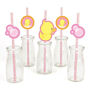 Pink Ducky Duck - Paper Straw Decor - Girl Baby Shower or Birthday Party Striped Decorative Straws - Set of 24