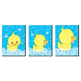 Ducky Duck - Rubber Ducky Nursery Wall Art and Kids Room Decor - 7.5 x 10 inches - Set of 3 Prints