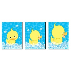 Ducky Duck - Rubber Ducky Nursery Wall Art and Kids Room Décor - 7.5 x 10 inches - Set of 3 Prints