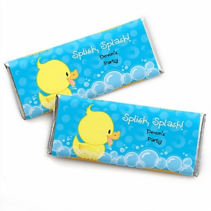 Ducky Duck - Personalized Candy Bar Wrapper Baby Shower or Birthday Party Favors - Set of 24