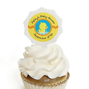Ducky Duck - 12 Cupcake Picks & 24 Personalized Stickers - Baby Shower Cupcake Toppers