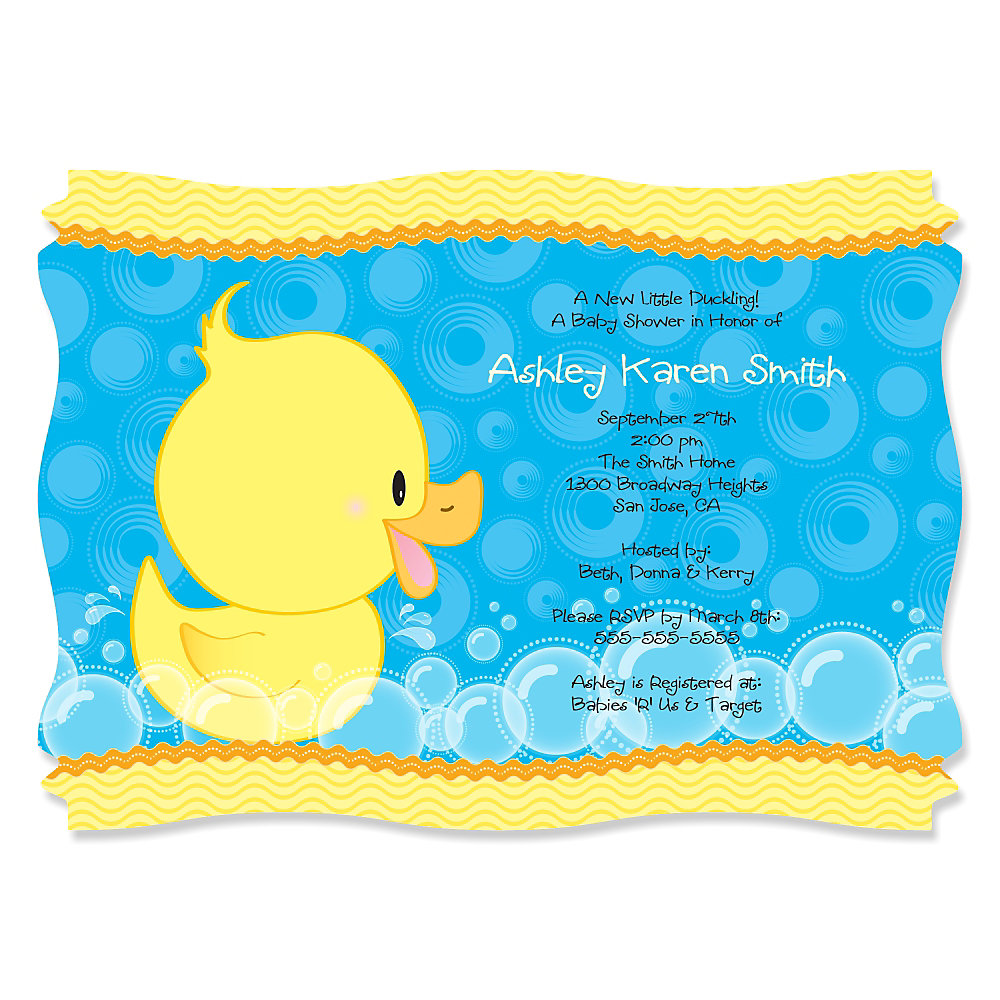 Delightful Ducky Duck   Personalized Baby Shower Invitations