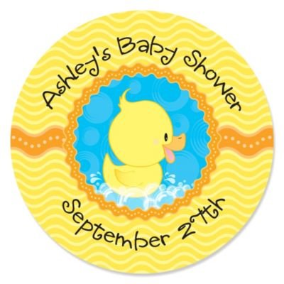 Ducky Duck Personalized Baby Shower Sticker Labels 24 ct
