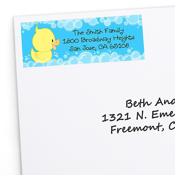 Ducky Duck - Personalized Birthday Party Return Address Labels - 30 ct